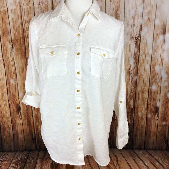 68dd12855b Ellen Tracy Tops - Ellen Tracy Linen White Button Down Shirt Top Med